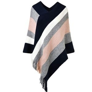 Knitted Poncho Top with Stripe Patterns Fringed